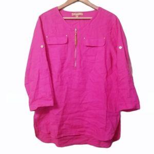 Ellen Tracy Linen Roll Tab Tunic Blouse Size M